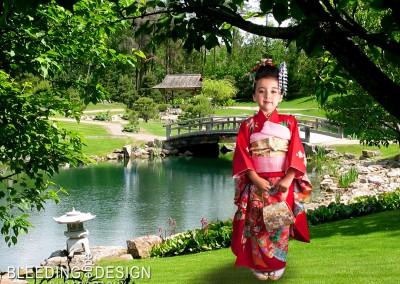 Kimono in a Garden