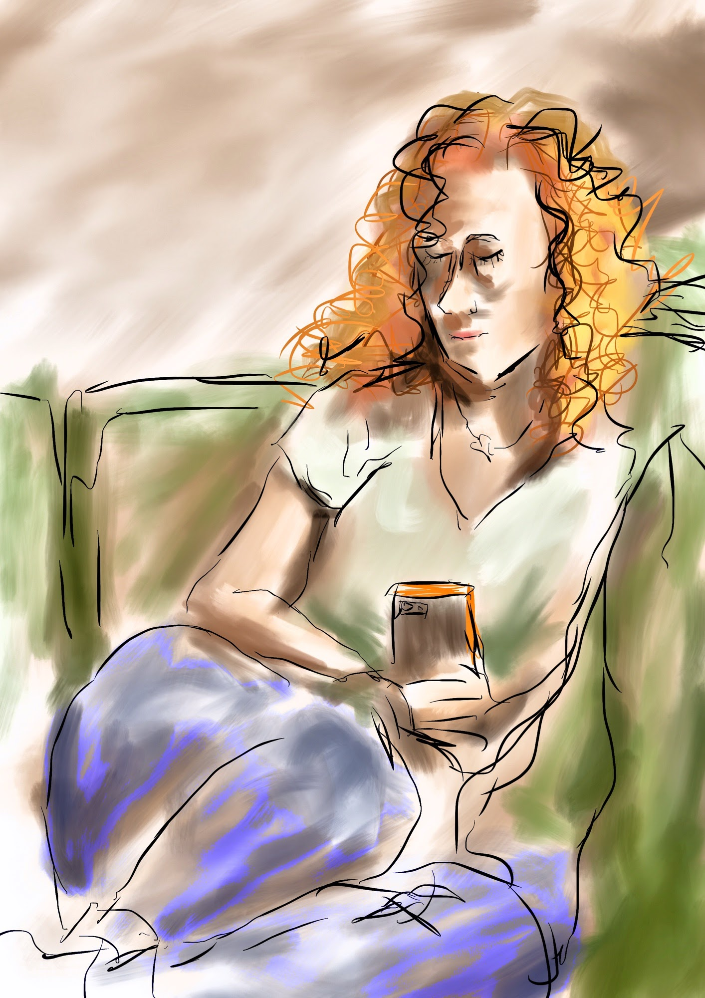 a digital painting of Katie reading the paper