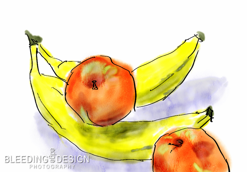 a digital painting of bananas & apples