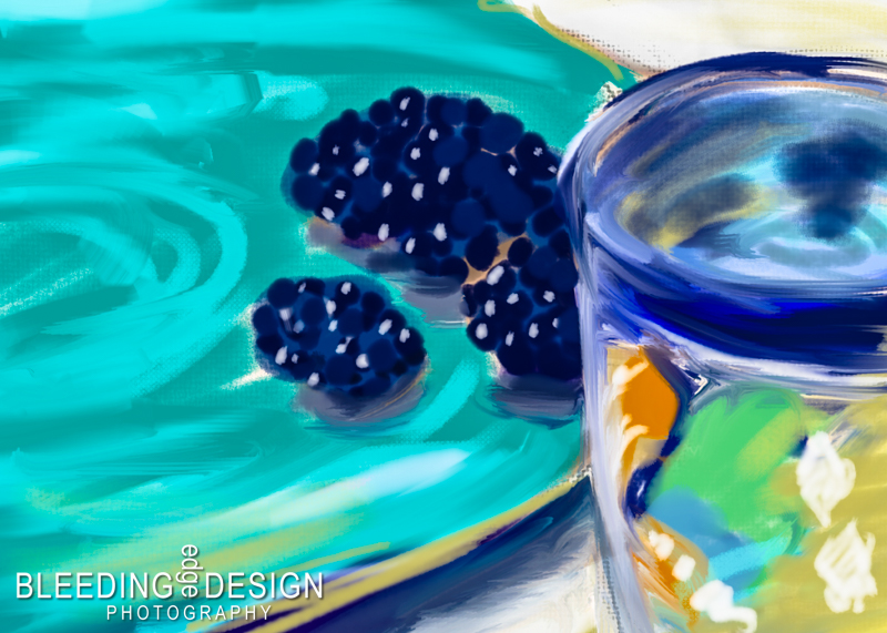 a digital painting of blackberries and mug