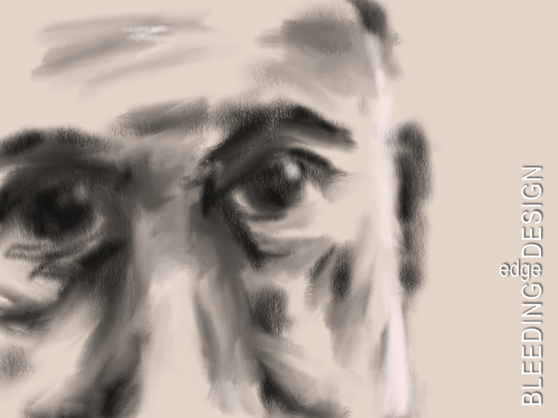 digital charcoal self-portrait
